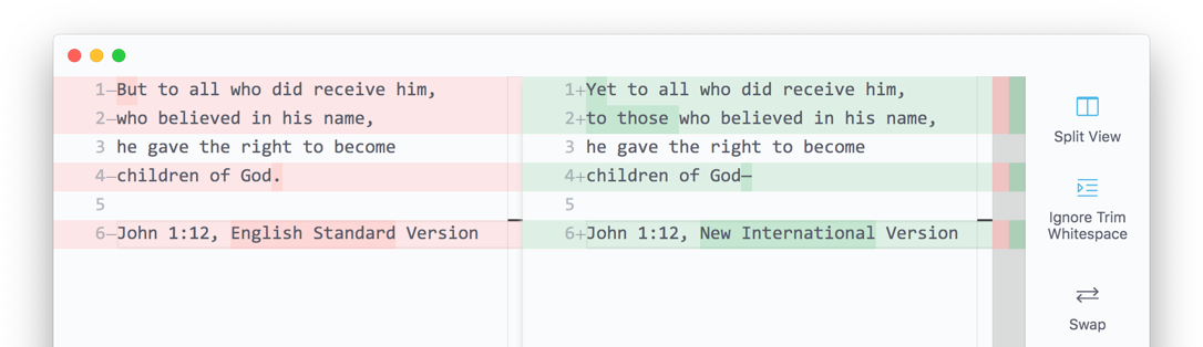 Screenshot of the Diffr app, comparing two similar translations of John 1:12