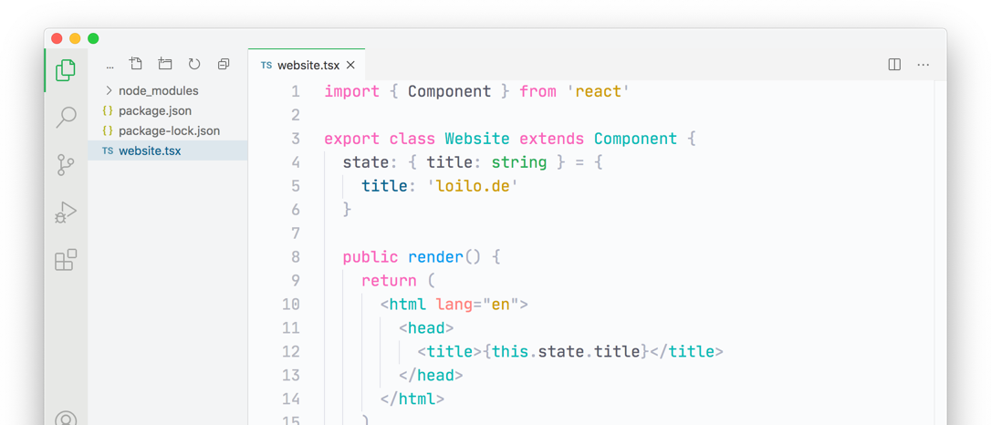 Screenshot of a code file in the Visual Studio Code editor with the Snazzy Light theme applied